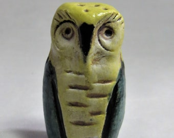 Tiny wise owl totem green and yellow hand made sculpture