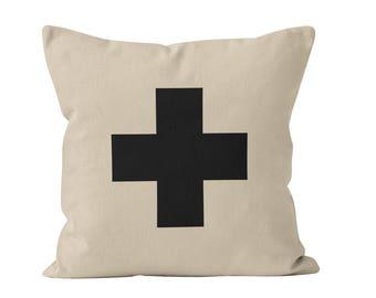 54 colors Black Swiss Cross Pillow Cover, Plus Sign Pillow Cover, Swiss Cross Cushion Cover, Swiss Cross Pillow Case Home Decor _M
