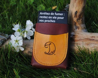 Case for Pack of cigarettes 100's brown leather