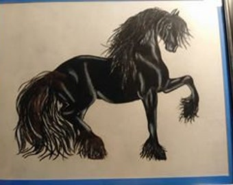 OOAK Original Fresian Horse Colored Pencil Drawing