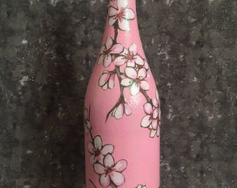 Cherry Blossoms Pink Wine Bottle