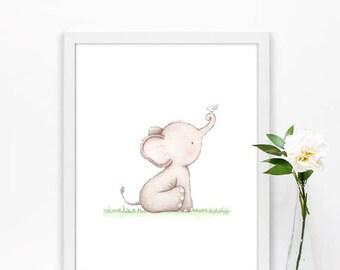 Elephant print, Nursery decor, Elephant wall art, Baby animal art, Nursery prints, Watercolor Elephant