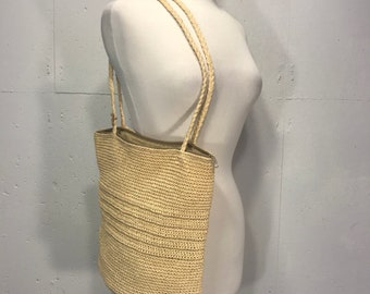 Scala woven raffia straw handbag shoulder summer beach neutral lined casual resort tote