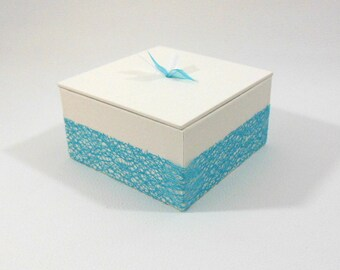 LARGE box dragees - Turquoise and white