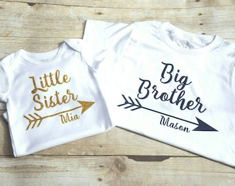 Personalized big brother and little sister shirts, sibling shirt, brother sister shirts, matching shirt sets, sibling matching shirts