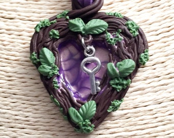Heart Nature necklace with key, Corazon Dampproof Clay, special gift for her, UV