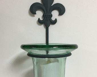Vintage Wall Votive Candleholder, Handblown Glass