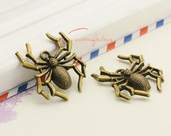 8PCS--35x33mm Spider Charms,Antique Bronze Halloween spider charm pendants, DIY Findings, Jewelry Making JAS05241