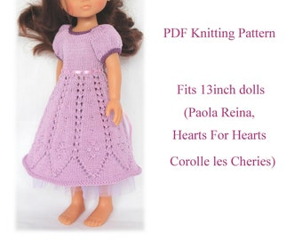 PDF Knitting pattern BELLA DRESS Fits 13 inch dolls (Paola Reina, Hearts For Hearts, Corolle les Cheries )
