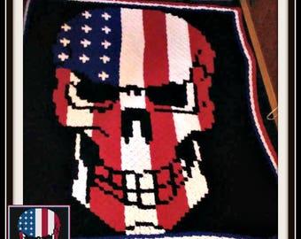 Skull Stars and Stripes Afghan, C2C Graph, Crochet Pattern
