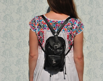 Backpack leather, mini leather backpack, backpack women,  backpack leather, backpack vintage, small leather backpack, black leather backpack