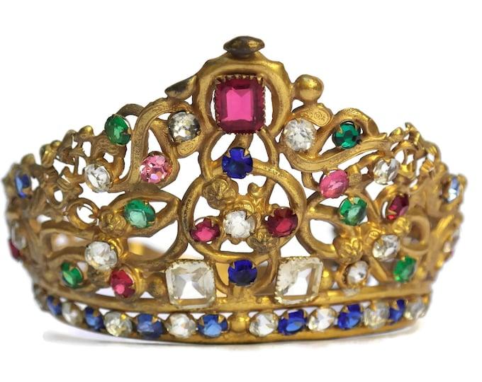 Antique French Jeweled Crown. 19th Century Saint Tiara. Adjustable Saint Statue Crown.