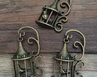 20pieces 35mmx20mm birdcage -  antique bronze charm pendant Jewelry Findings CcA00113