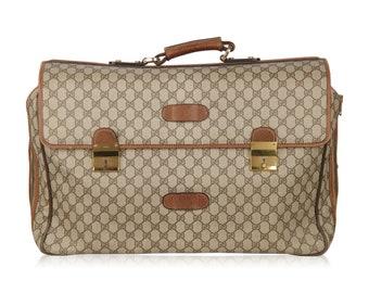 Authentic GUCCI Vintage Brown Monogram 48h Travel Weekender Bag Briefcase
