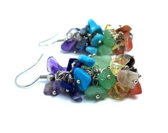Gemstone Chips Dangle Earrings