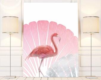 Tropical Bird Decor, Pink Flamingo Wall Print, Flamingo Print Art, Flamingo Party Decor, Printable Flamingo Wall Art, Tropical Decor Print