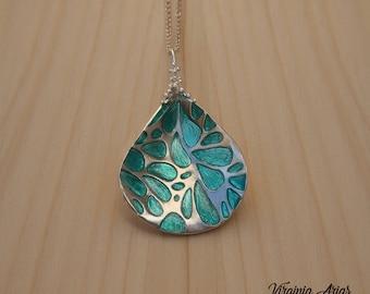 Turquoise Petal Pendant, Sterling silver Pendant, Enamel Pendant, Nature Pendant, Handcrafted Artisan, Contemporary Jewelry, Silver Pendant