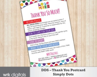 Dot Dot Smile Thank You Card, Care Card, Simply Dots Design, Customized Design, Direct Sales, Fashion Consultant