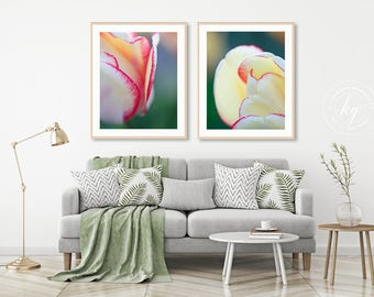 Botanical Wall Art, Macro Flower Photography, Two Floral Tulip Prints, Vertical Artwork, Flower Wall Decor Flower Photographs Tulip Pictures
