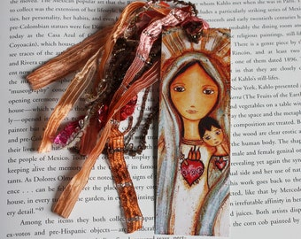 Immaculate Conception with Child - Laminated Bookmark  Handmade - Original Art by FLOR LARIOS