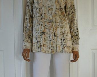 ESCADA Blouse by Margaretha Ley Silk Career blouse Size 36/Small