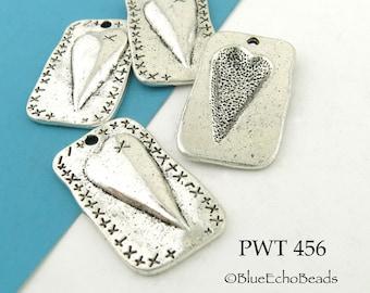 27mm Folk Art Style Heart Charm Rectangle Pewter Charm (PWT 456) BlueEchoBeads 4 pcs