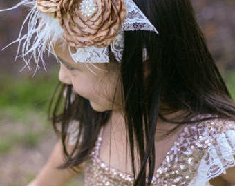 Rustic Flowers and Lace Headband, Gold and White headband, Toddler head wrap, Toddler Headband, baby girl headband, rustic headband, feather