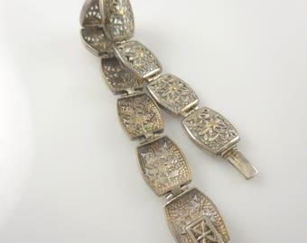 Bracelet Silver Flower Bracelet  Stamped 925