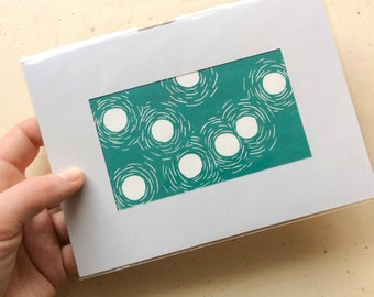mini linocut - DUST DANCE // 5x7 art print // printmaking // block print // turquoise // blue green // small print // miniature // original