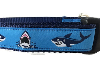 Dog Collar and PADDED Leash, Sharks, 6ft leash, 1 inch wide, adjustable, quick release, metal buckle, chain, martingale, hybrid, nylon