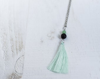 Lava Stone with Seafoam Bead and Tassel Necklace || Glass Charm with Silky Tassel || Layering Necklaces || Canadian Seller