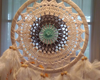 Blue and white Crochet Dream Catcher with feathers