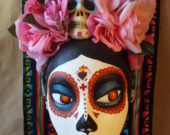 Dia de los Muertos Flower Crown - Pink with Skull
