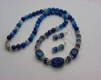 set necklace and earrings agate blue 60 cm