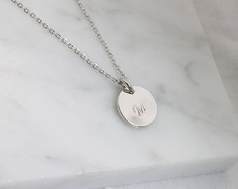 Personalized custom initial silver coin disc Necklace - S2375-1