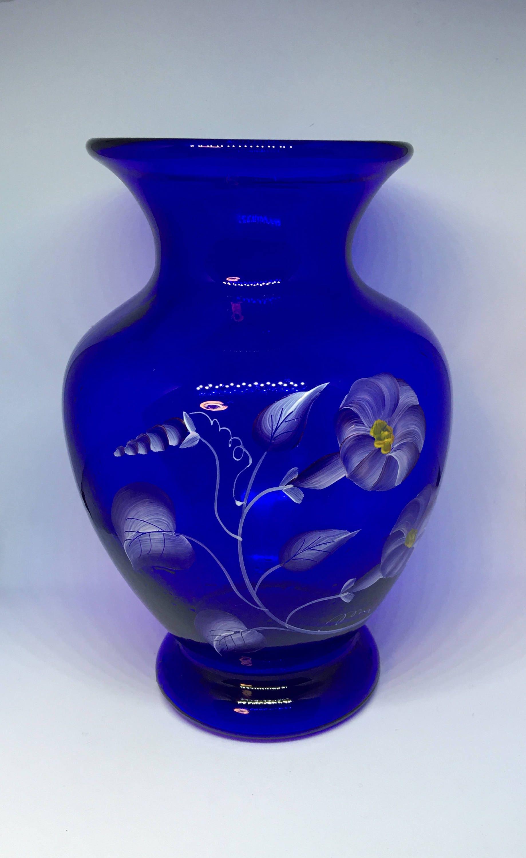 Fenton cobalt blue vase hand painted and signed d yenel description fenton glass cobalt blue floridaeventfo Image collections