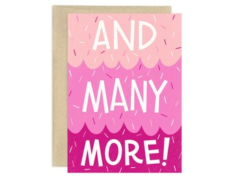 And Many More Illustrated Greeting Card, Pink
