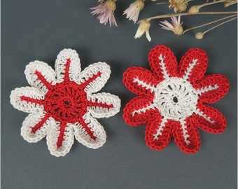Crochet flower Set 2 pcs Knitted flower Flower application Scrapbooking flower Decorate flower Flower motif  Cloth accessory
