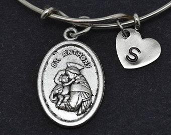 St Anthony Bangle, Sterling Silver Bangle, St Anthony Bracelet, Bridesmaid gift, Personalized Bracelet, Charm Bangle,initial Bracelet