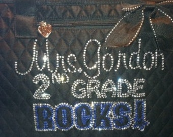 Customize Teacher 1st, 2nd, 3rd....Grade Rocks! Rhinestone Tote Bag