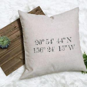 GPS Coordinate Pillow - Coordinates Decor - Latitude Wedding Longitude Pillow Latitude Engagement - Honeymoon Memento - New Farmhouse Pillow