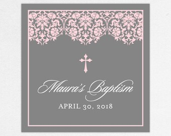 Baptism Favor Tag, Baptism Favor Label, Christening Favor Tag, Christening Favor Label, Print, Floral, Damask, Lace, Girl, Gray, Pink, Maura