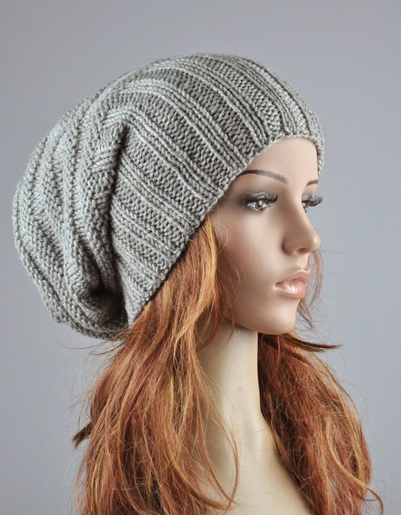 items similar to hand knit hat woman winter hat light grey. Black Bedroom Furniture Sets. Home Design Ideas