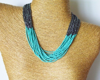 Turquoise and charcoal necklace,teal and gray necklace,turquoise necklace,titanium necklace,beaded necklace, dark grey, multistrand necklace