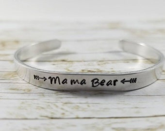 Mama Bear Cuff Bracelet, Mother's Bracelet, Mama jewelry, Hand Stamped Aluminum Cuff, Mom Jewelry, Mama Bear bar bracelet