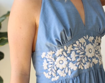 vintage 1970s blue Embroidered Dress