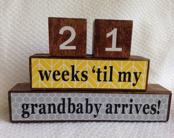 Grandparents Countdown Blocks - Grandparents gift - Fathers's Day - Mothers's Day - New Baby - photo prop