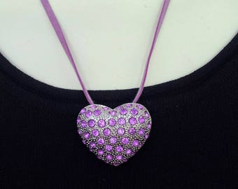 Silver Tone and Rhinestone Pendant/Gift For Her/Silver Heart/Heart Pendant or Pin/Brooch or Pendant Necklace/Lavender Heart Necklace/120