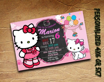 Hello Kitty Invitation Personalized Printable,Hello Kitty Birthday Invitation,Hello Kitty Invite Custom Card