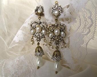 Boucles d'oreilles de Style victorien lustre perle, diamant coupe cristal boucles d'oreilles, boucles d'oreilles pendantes perle mariée, bijoux de mariage, unique en son genre 9517